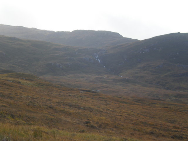 Waterfall coming down Beinn an Eòininto Coire an Eòin