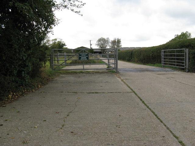 Concrete entrance to Catsland Farm