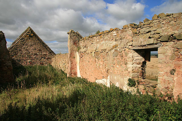 Inside the ruined buildings at Catmoss near Greenlaw