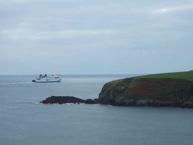 The ferry to Ireland and the eastmost point of St Ann's Head