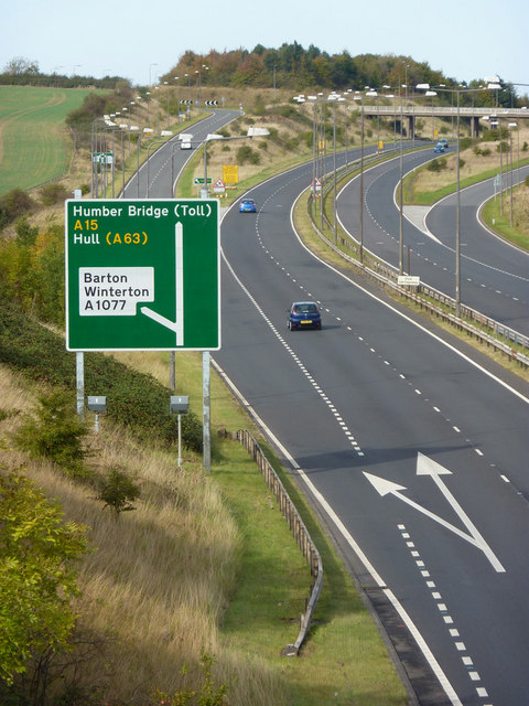 A15 northbound exit for Barton upon Humber