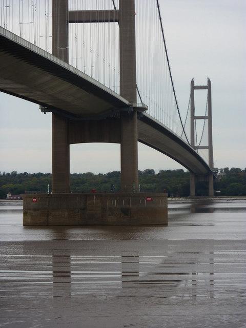 Humber Bridge and the mudflats beneath