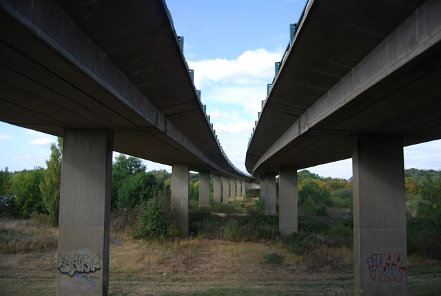 Underneath the A21 flyover