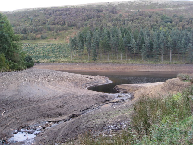 Low Water as Linch Clough meets Howden Reservoir