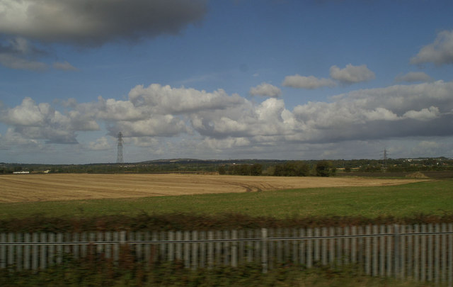 The view towards Billinge Hill from the 12.01 from Newton-le-Willows