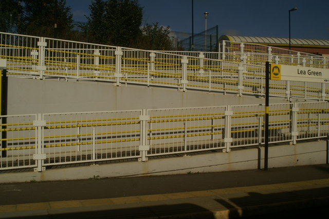 Wheelchair ramps at Lea Green Station, as seen from the 12.01 from Newton-le-Willows