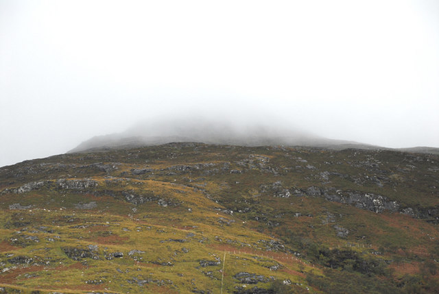 Towards Beinn Bheag in cloudy weather