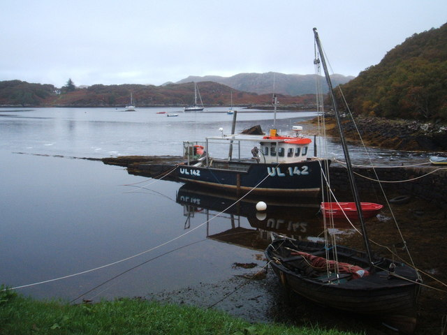 Badachro Pier with two boats