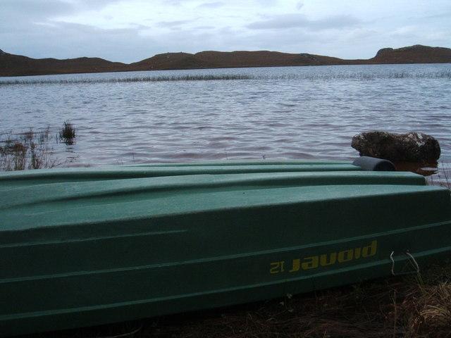Upturned boat on Loch Braigh Horrasdail