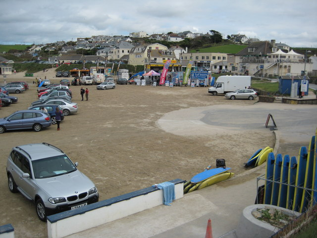 Beach parking at Polzeath