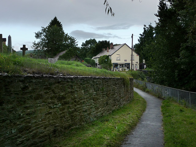Footpath beside the churchyard, Bucknell