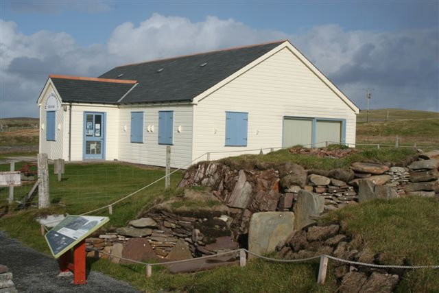 Bressay Heritage Centre with relocated burnt mound from Cruester