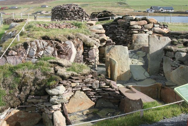 Relocated burnt mound from Cruester  at Bressay Heritage Centre