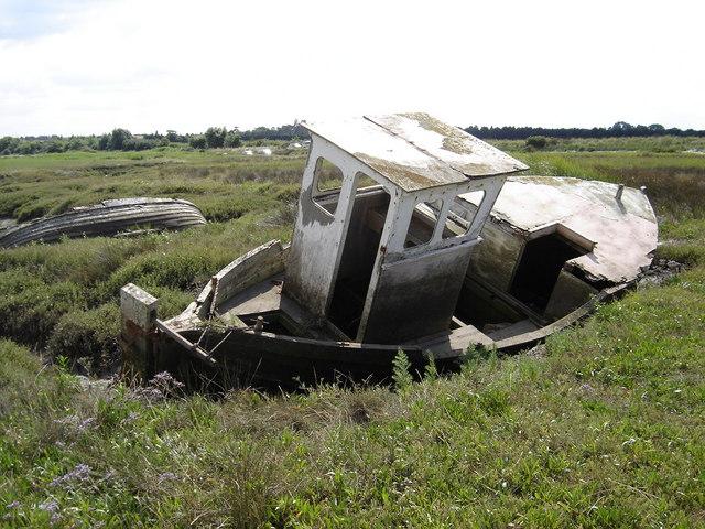 Old wrecks on Thornham salt marshes.