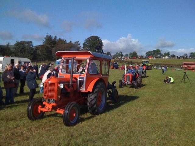 Procession of vintage tractors at Ellisland Farm