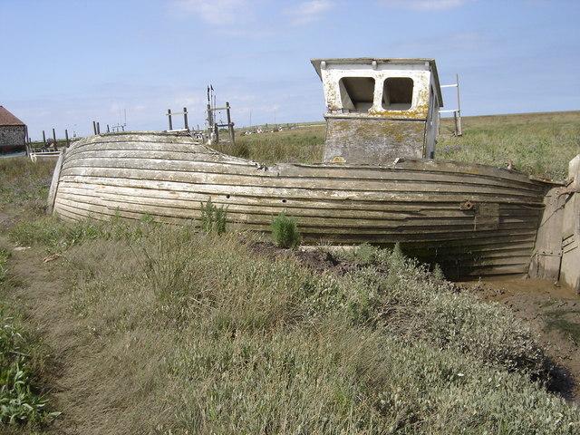Wreck of work boat on Thornham marsh