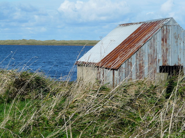 Boathouse and Loch of Strathbeg.