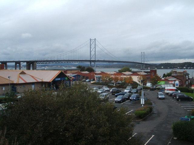 Supermarket carpark and Forth Road Bridge