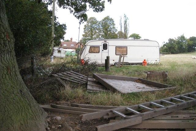 Caravans in a field near Hampton Lodge