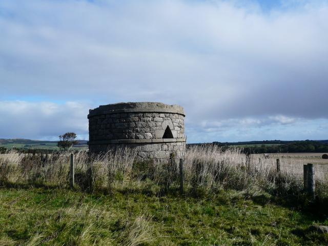 Ruined tower near Strichen stone circle.