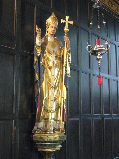 St. Cyprian's Church, Glentworth Street, NW1 - statue of St. Cyprian in side chapel