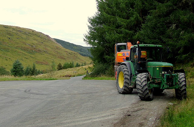 Forestry machinery in the Tywi Valley, Powys
