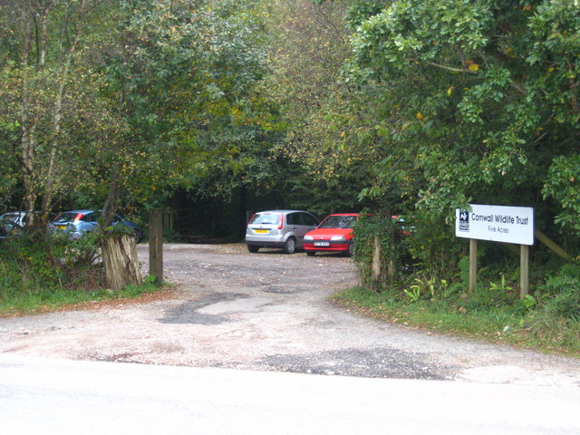 Car park at the entrance to Five Acres at Allet