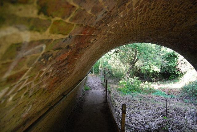 Underneath the railway bridge across The Shallows