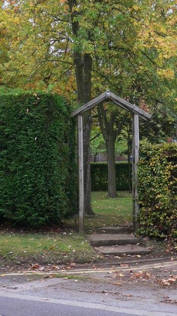 Entrance to memorial garden on Budds Lane in Bordon