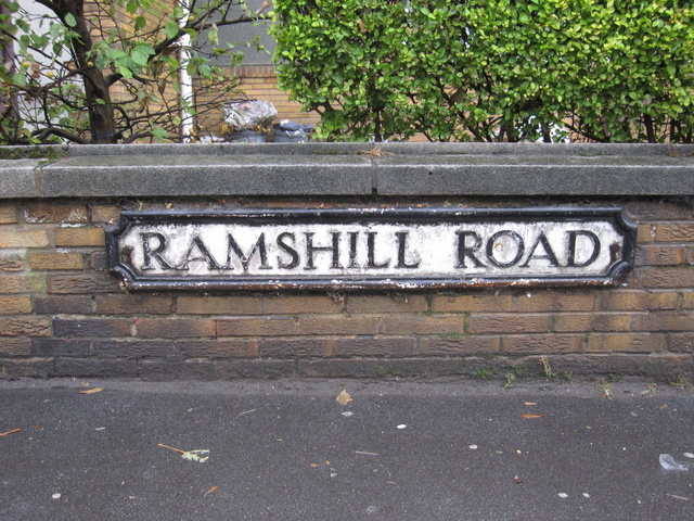 Road name plate in Ramshill Road, Scarborough