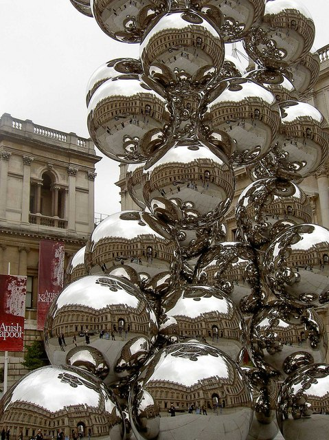 Stainless steel sculpture by Anish Kapoor 'Tall Tree and Eye'
