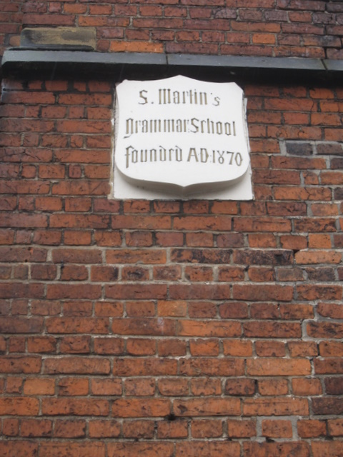 Plaque on the former St Martin's Grammar School