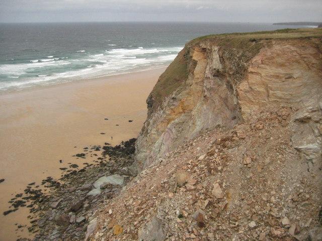 Unstable cliffs above Watergate Bay