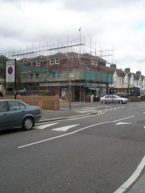 Scaffolding on building at the junction of Woodlands and Beaconsfield Roads