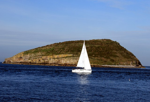Yacht sails past Puffin Island