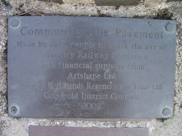 Commemorative plaque marking the site of Tetbury Railway Station