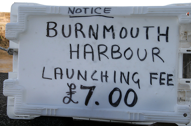 A notice at Burnmouth harbour