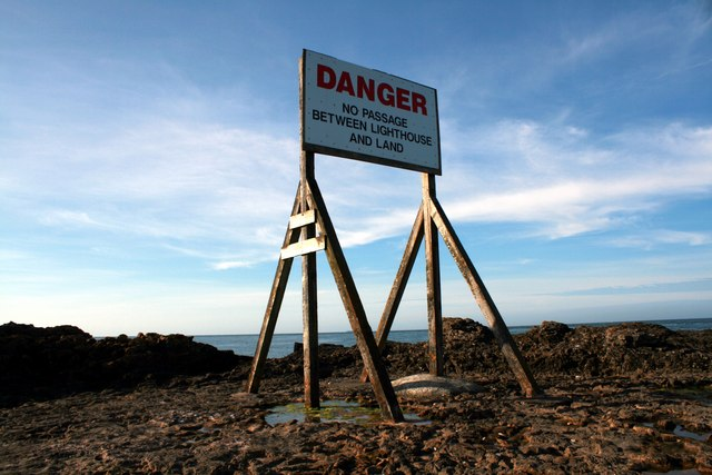 Danger sign at Penmon