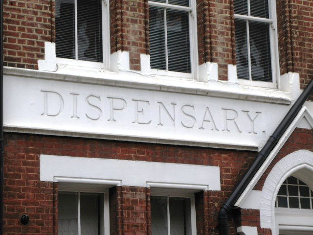 Sign on the former dispensary in Chiltern Street, W1