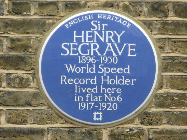 Plaque re Sir Henry Seagrave