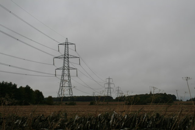 Line of pylons across the field