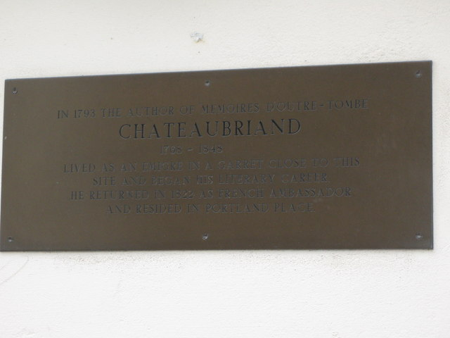Memorial plaque for Chateaubriand, Paddington Street, W1