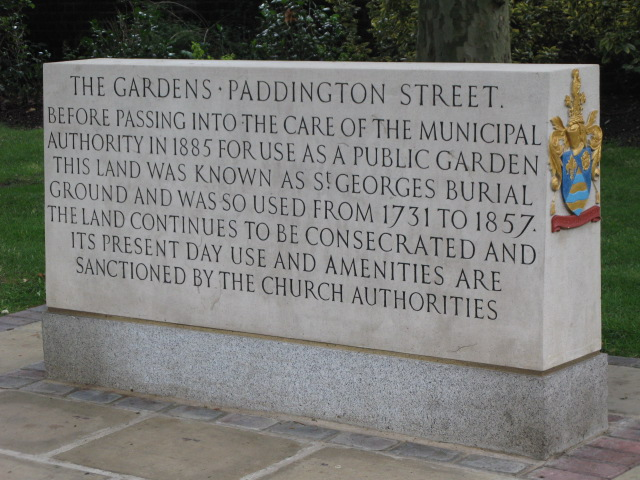 Inscribed stone re Paddington Street Garden, W1