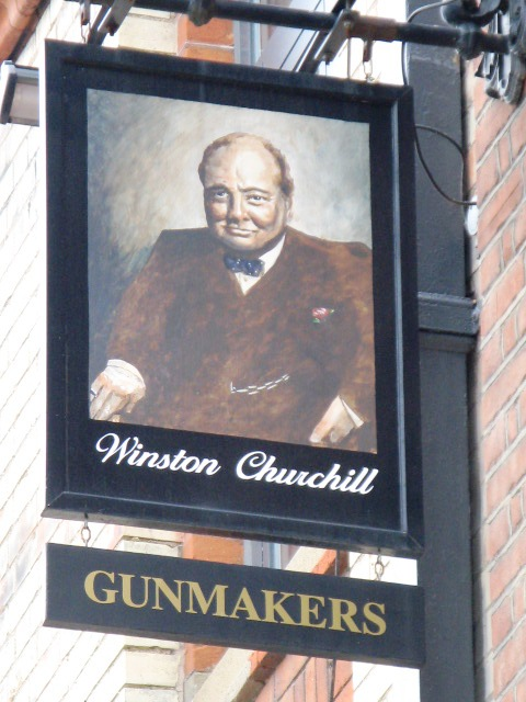 Sign for The Gunmakers, 33 Aybrook Street, W1