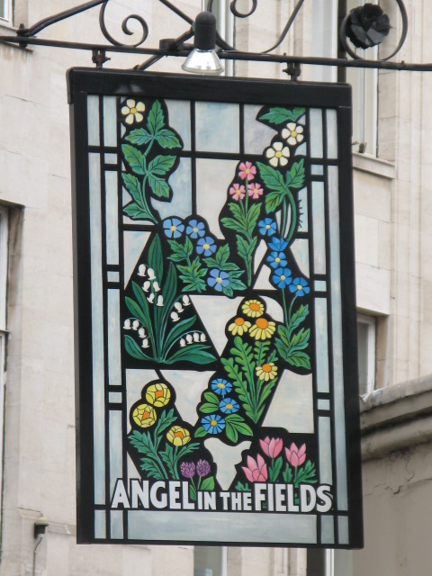 Sign for The Angel in the Fields, 37 Thayer Street, W1