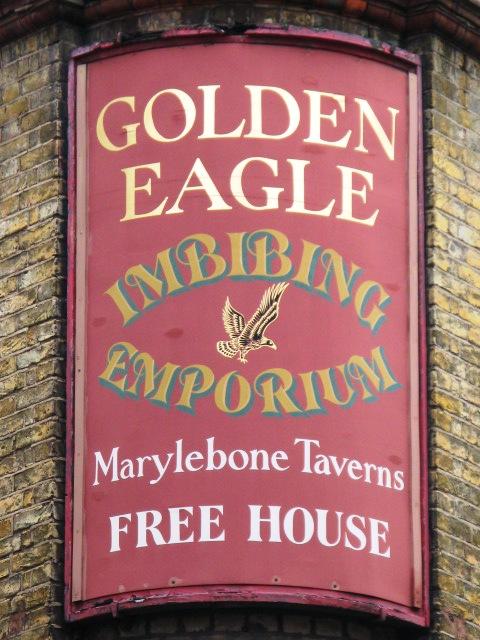 Sign for The Golden Eagle, Marylebone Lane / Bulstrode Street, W1