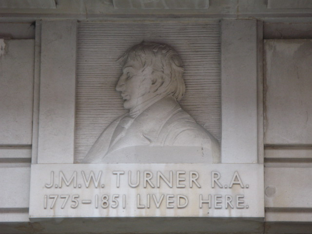 Plaque re J M W Turner RA  on a building in Queen Anne Street, W1
