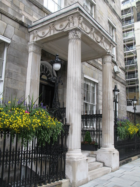 The entrance to Chandos House, 2 Queen Anne Street, W1