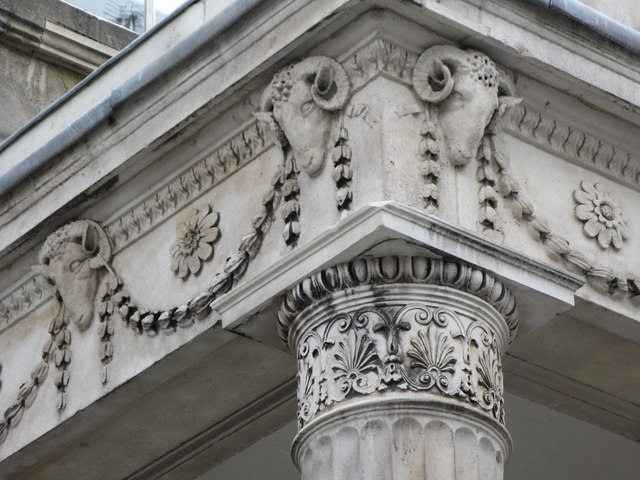 The entrance to Chandos House, 2 Queen Anne Street, W1 - detail