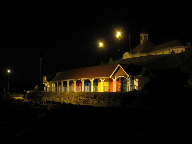 Colourful beach huts on Scarborough sea front